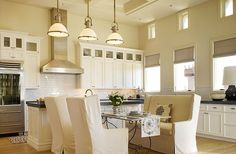 sand colored kitchen cabinets | Huge eat-in kitchen design with soft tan sand walls paint color ...