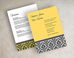 Victorian / vintage damask wedding invitations in golden yellow, charcoal gray, black and white