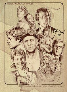 "Ryan O´Neal,illustration from the book ""men of Hollywood"".Nacho Castro.Diábolo Ediciones"