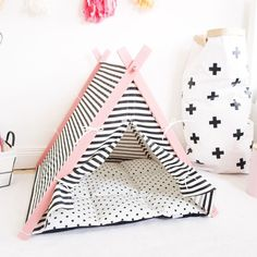 Dog and Teepee handmade luxury dog teepee in black and white stripe with pink frame - Tap the pin for the most adorable pawtastic fur baby apparel! You'll love the dog clothes and cat clothes! Pink Dog Beds, Pet Beds, Pink Bedding, Black Bedding, Luxury Bedding, Diy Dog Bed, Ideias Diy, Dog Houses, Dog Accessories