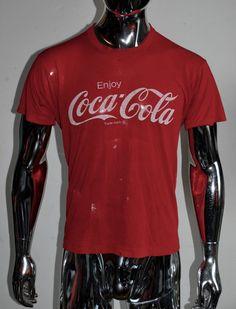 VINTAGE 70's COCA-COLA Red T Shirt MEN Size L ENJOY! #CocaCola #GraphicTee