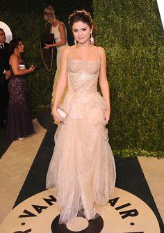 Selena Gomez at the Vanity Fair party - in Versace dress