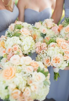Rich periwinkle dresses, luscious cream and peach bouquets, springtime // Lifesong Photography