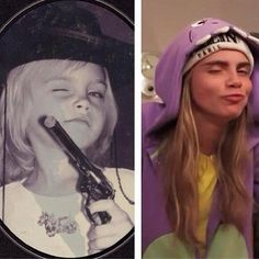 """While chatting with Interview magazine, Cara Delevingne dished about what she was like as a kid. """"I was such a tomboy. I loved soccer [and] sports in general. The first time I was a bridesmaid, to my auntie, I refused to go down the aisle without my football shorts underneath my dress,"""" she said. Cara also posted this adorable #TBT pic on Instagram along with the caption: """"#tbt #nochange."""""""