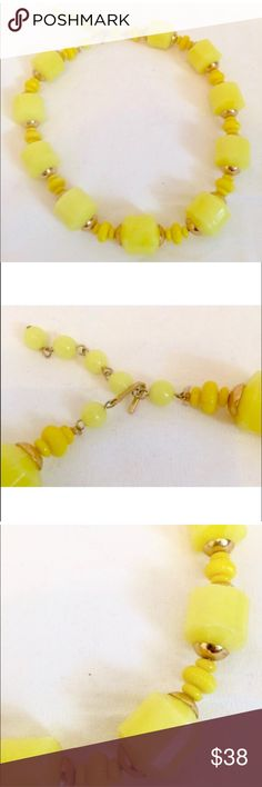 "Gorgeous Vintage Bright Yellow Beaded Necklace Amazing yellow beaded necklace!  The yellow is almost neon but not quite  Excellent condition  Clasped measures 6"" top to bottom  Unclasped measures 14.5"" long Vintage Jewelry Necklaces"