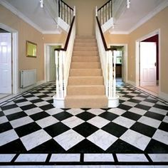 Elite black and white sophisticated deign and look. Karndean Flooring, Marble Effect, Home Crafts, Vinyl, Home Decor, Flooring, Hall Flooring, Karndean Knight Tile, Vinyl Flooring