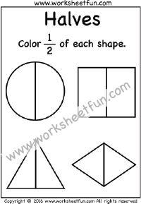 beginner fractions worksheets (free, printable) preschool ...