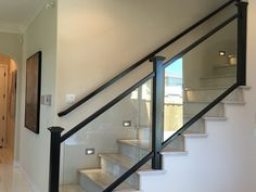 Staircase Interior Design, Staircase Railing Design, Interior Stair Railing, Home Stairs Design, House Design, Glass Stairs, Glass Stair Railing, Balcony Grill Design, Modern Stairs