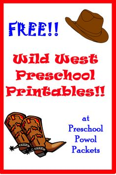 FREE Wild West preschool printables #poppinsbooknook  #storybookactivities  #onlinebookclubforkids