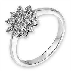 Diamantring Diamond Flower, Weißgold 750, Diamanten 0,38 ct