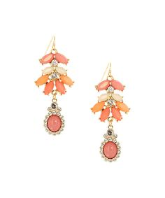 Loving this Olivia Welles Jewelry Gold & Coral Crystal Leaf Drop Earrings on #zulily! #zulilyfinds