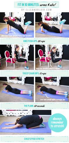 Get Fit in 10 Minutes with this Arms + Abs Routine #workout #exercise