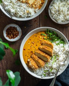 Katsu Curry Recipes, How To Cook Tempeh, Vegan Dishes, Vegan Food, Vegan Cafe, Health Dinner, Vegan Dinner Recipes