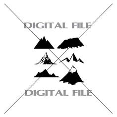 Six Mountains Vector Images A1 Vinyl Decal by GuysAfterConception
