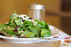 Spinach Salad with Gorgonzola, Cranberries, Almonds and Honey Garlic Vinaigrette | Heather's Dish