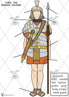 Teacher's Pet - Roman Soldier Labelling colour - Premium Printable Classroom Activities and Games - EYFS, ancient, rome, roman, br. Primary History, Teaching History, Teaching Latin, Rome Activities, Classroom Activities, Ancient Rome Games, Roman History, Women's History, British History