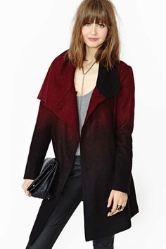 BB Dakota Amber Ombre Melton Coat digging the red/black color fade and asymmetrical slouchy trench