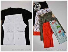 Un T-Shirt XL peut être transformé en pantalon taille enfant.