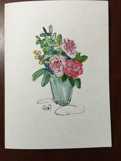 Flowers in Vase Watercolor Card / Hand Painted by gardenblooms