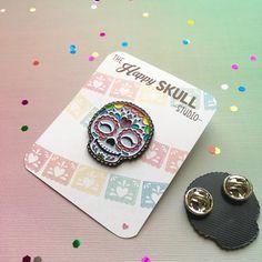 Happy Skull Enamel Pin by TheHappySkullStudio on Etsy