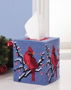 Mary Maxim - Winter Cardinal Tissue Box Cover Plastic Canvas Kit - Plastic Canvas Kits - Plastic Can Plastic Canvas Coasters, Plastic Canvas Tissue Boxes, Plastic Canvas Crafts, Plastic Canvas Patterns, Cute Crafts, Crafts To Make, Beach Crafts, Fall Crafts, Christmas Crafts