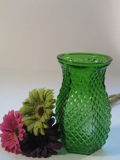 Green depression glass vase (found about 9 of these at Goodwill for my #wedding. Now I have a pretty collection for under $10)