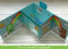 """First Saturday with Megan A """"Care Bears"""" Inspired Shadow Box Card! Fancy Fold Cards, Folded Cards, Pretty Cards, Cute Cards, Altered Tins, Altered Art, Tarjetas Pop Up, Lawn Fawn Blog, Lawn Fawn Stamps"""