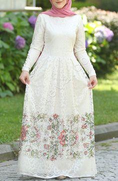 Sade Dantelli Prenses Elbise - Ekru