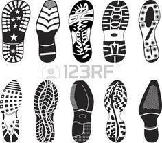 Illustration of A collection of various highly detailed shoe tracks. Elegant, sporty, formal, mountain boots and child boots are included. vector art, clipart and stock vectors. Art Education Lessons, Art Lessons, Detective Party, Shoes Vector, Spy Party, Football Shoes, High School Art, En Stock, Kids Boots