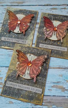 Distressed butterfly ATC inspiration - use a butterfly stamp and die-cut or punch