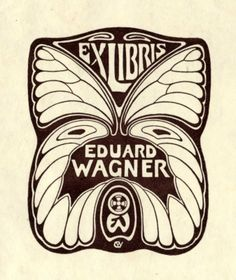 Bookplate by Carl Wagner for Eduard Wagner, Ex Libris, Woodcut Tattoo, Woodcut Art, Ink Illustrations, Illustration Art, Art Exhibition Posters, Graphic Design Art, Belle Epoque, Art Nouveau