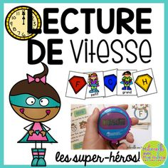 Lecture de vitesse - les Super-héros (FRENCH Fluency Practice) - great as an independent literacy centre!