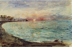 Eugène Delacroix – Falaises près de Dieppe 1852-1855 – Watercolor – 20 x 30,7 cm Paris, Musée Marmottan Monet – Michel  Monet bequest, 1966 – © Musée Marmottan  Monet, Paris / The Bridgeman Art Library   http://gabineted.blogspot.com.br/2014/09/impressao-o-nascer-do-sol-verdadeira.html