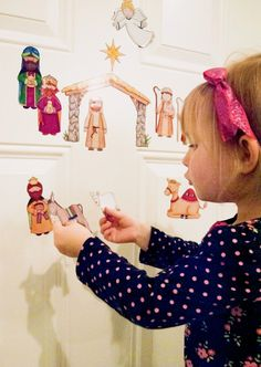 Easy DIY magnetic nativity set! You won't believe how easy it is to make this! We did this last year and Luke played it every single day on the fridge in December!