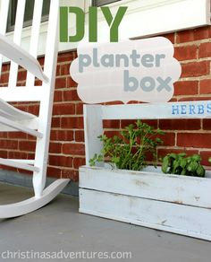 DIY Herb Planter Box.  From Christina's Adventures. A bit narrow, but I like the handle feature.