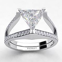 Shop for DANHOV 18 KT White Gold CZ Trilliant TDW Diamond Engagement Ring (G, Get free delivery at Overstock - Your Online Jewelry Destination! Engagement Ring Styles, Diamond Engagement Rings, Trillion Ring, Diamond Jewelry, Jewelry Rings, Fine Jewelry, Wedding Ring Bands, Wedding Jewelry, Wedding Rings