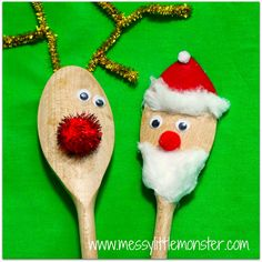 Messy Little Monster: Santa and Rudolf Christmas Spoon Puppets