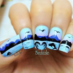 Beautiful beach nails for the summer