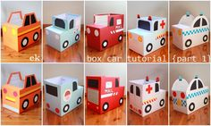 Thanks for your interest in our box vehicles and for your patience while waiting for this tutorial, I hope it helps. Part 2 – larger truck – is here. Supplies: -a box (I have used nappy… Cardboard Car, Cardboard Box Crafts, Cardboard Playhouse, Cardboard Furniture, Cardboard Box Ideas For Kids, Boxcar, Homemade Toys, Diy Toys, Diy For Kids