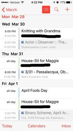 My Current iPhone Calendar 3/28/2016