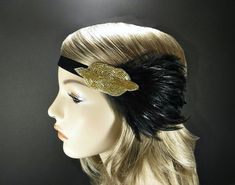 Gold 1920s Headpiece for Flapper Dress, Black Feather Gatsby Flapper Headband