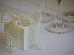 Lace wedding favor... could be a good way to tie in a lace theme