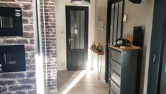 Transform a classic door into a workshop door - We love deco - Corridor Interior Design Living Room, Interior Decorating, Grey Hallway, Classic Doors, Diy Door, Tall Cabinet Storage, House Plans, Sweet Home, New Homes