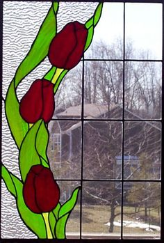 Image of the Tulip Trio stained glass panel