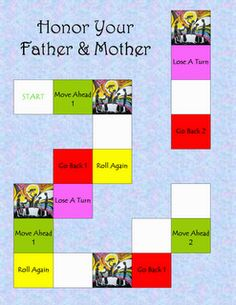 The Catholic Toolbox: Commandment game - Honor Your Father & Mother Fhe Lessons, Bible Lessons For Kids, Kids Bible, Sunday School Activities, Sunday School Lessons, Ccd Activities, Father Games, 4th Commandment, Respect Your Parents