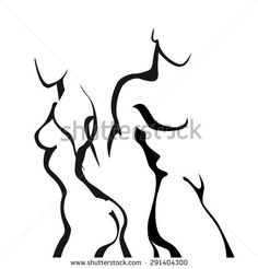 Abstract sketch couple in love. Woman and man body. - stock vector