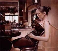 As belas e elegantes mulheres em vestidos nas pinturas hiper-realistas de Rob Hefferan