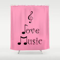 I Love Music - Punk Pink Shower Curtain