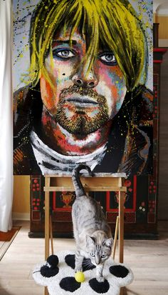 Original Portrait Painting by Bazevian Delacapuciniere Paintings For Sale, Original Paintings, Original Art, Mixed Media Painting, Ink Painting, Kurt Cobain Painting, Watercolor And Ink, Figurative Art, Buy Art