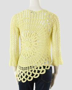 Crochet Scoop-Neck Sweater, Alternate1 View